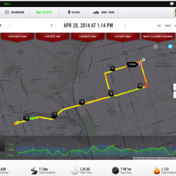 My latest run displayed on nikeplus.com
