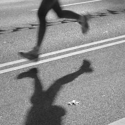 Runner on city street