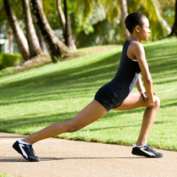 Woman stretching before run